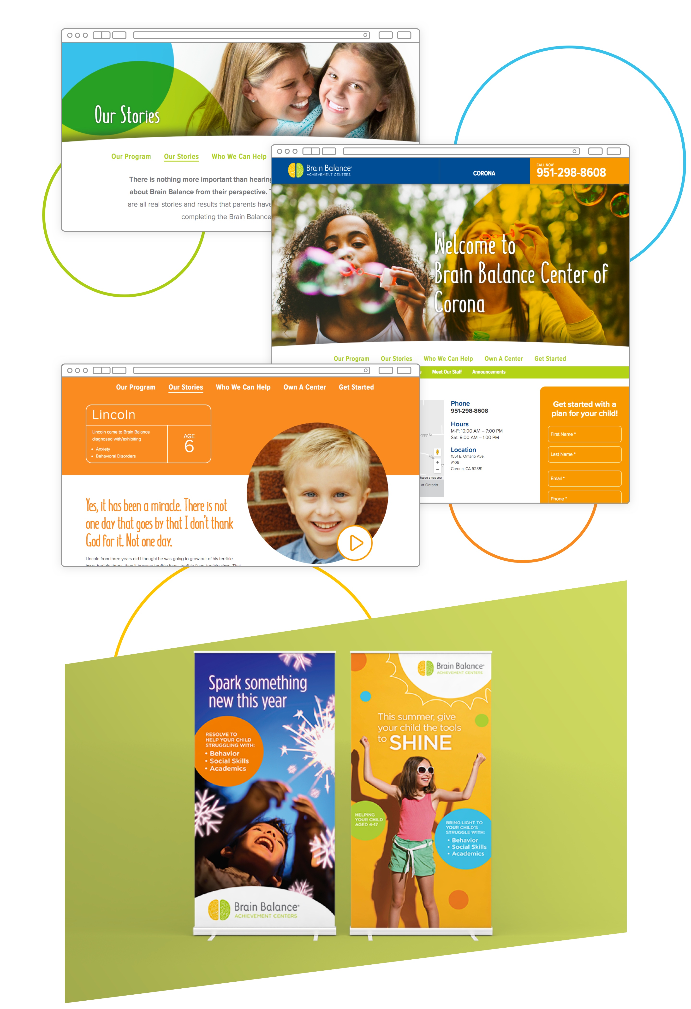 Three views of the Brain Balance website and a brochure