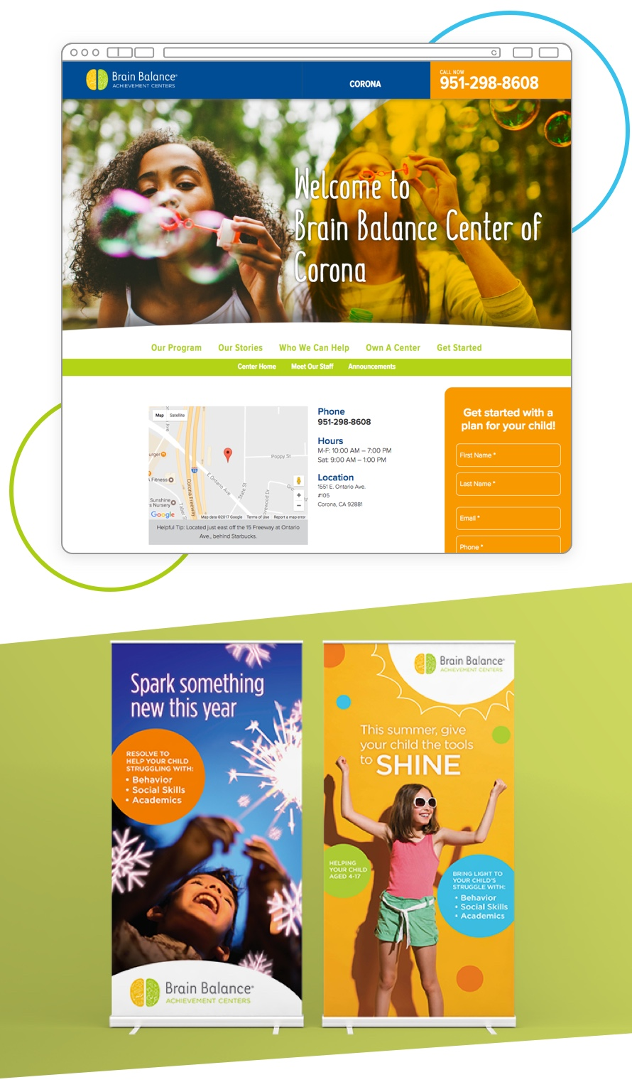 A view of the Brain Balance website and a brochure