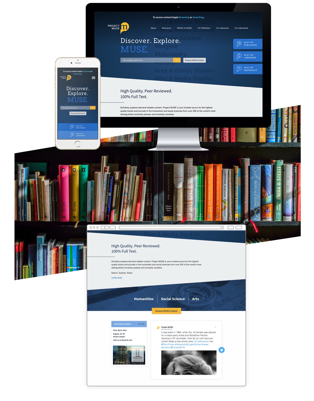 JHU MUSE homepage in use on desktop and phone.