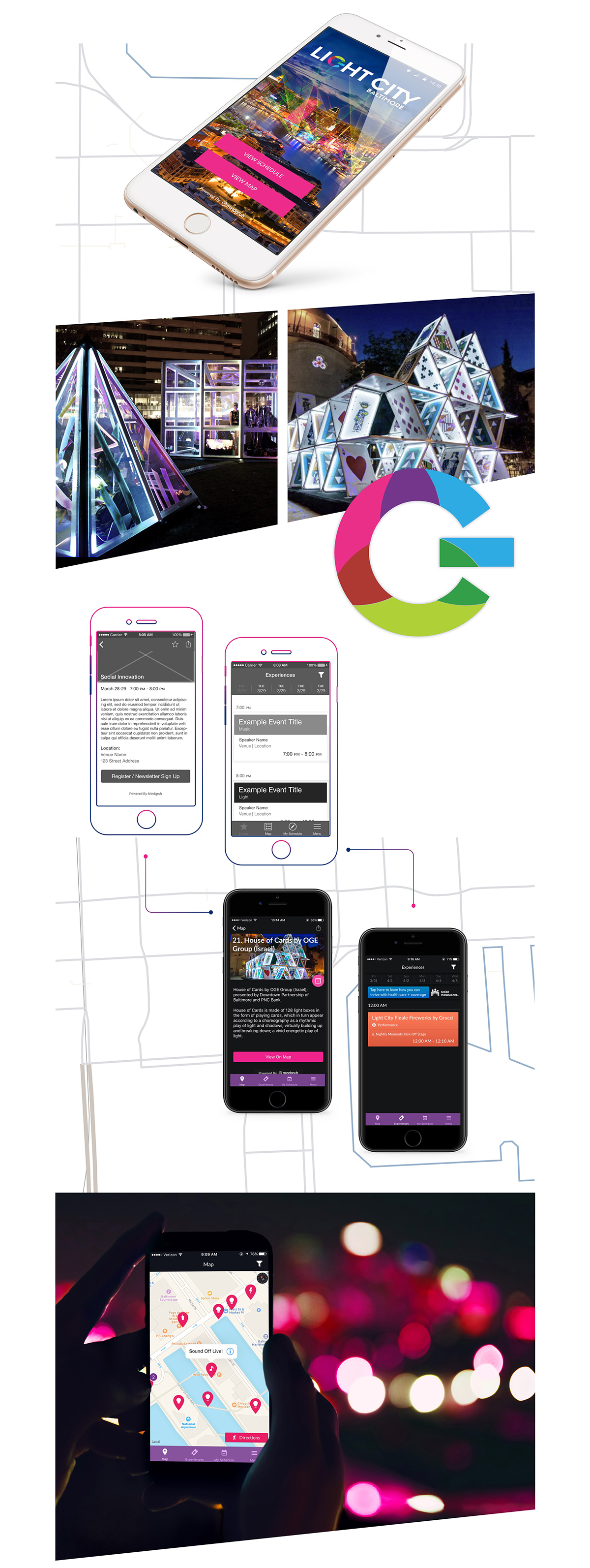 Light City mobile app displayed on smartphones.