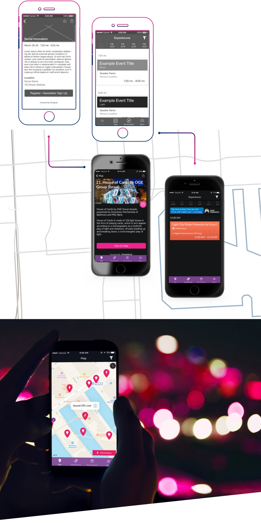 4 different displays of the Light City Baltimore app