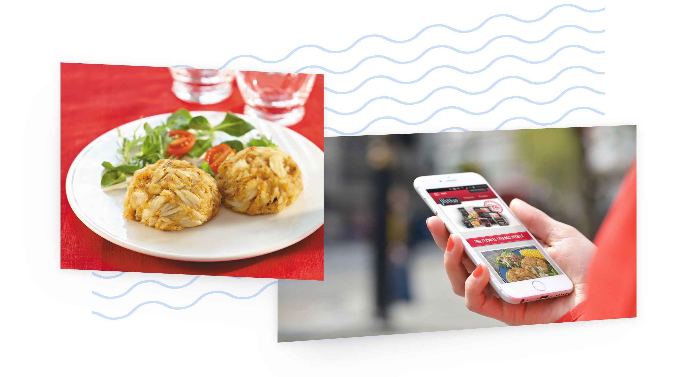 Seafood dinner plate and a person's hand holding a mobile phone with the Phillips website displayed.