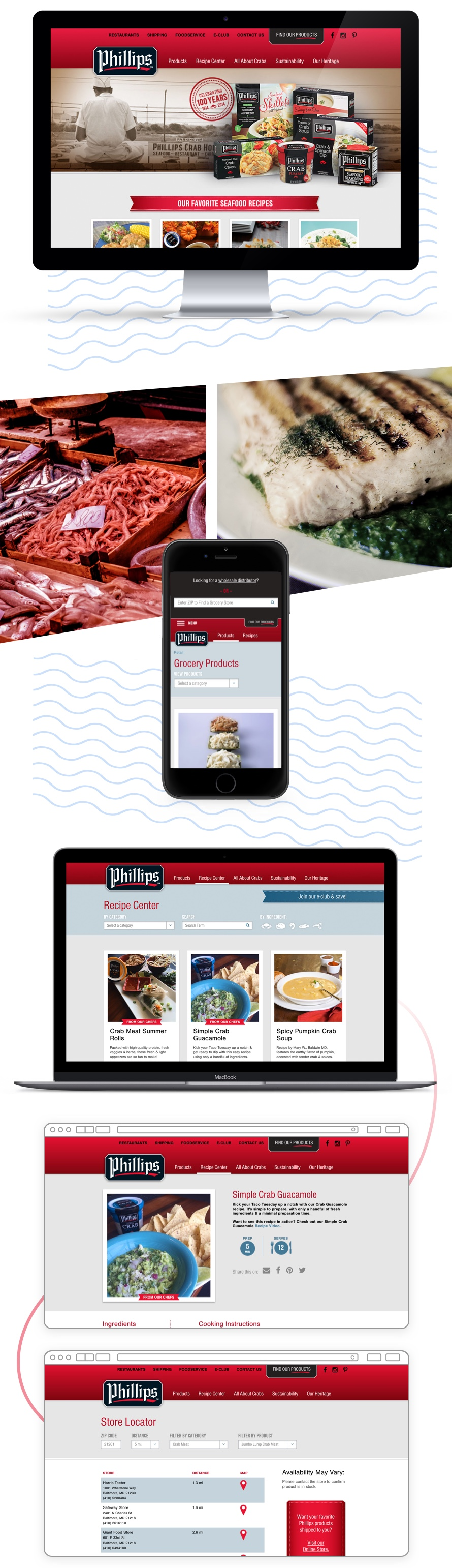 Phillips website on a desktop and mobile phone.
