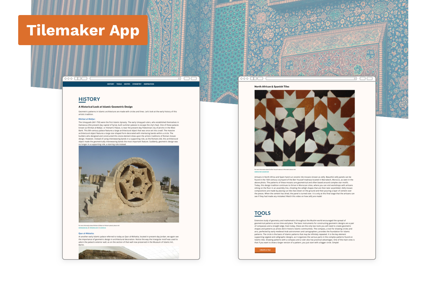 Two webpages displaying information about geometric design from the Tilemaker website.