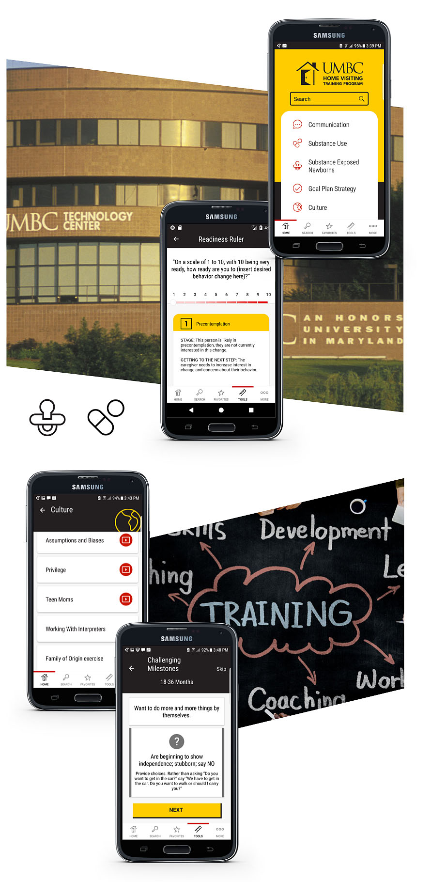 At the top: Two smartphones in the forefront displaying UMBC Home Visiting Training Program website with the UMBC building in the background. At the bottom: Two smartphones in the forefront displaying UMBC Home Visiting Training Program website with an idea board in the background.