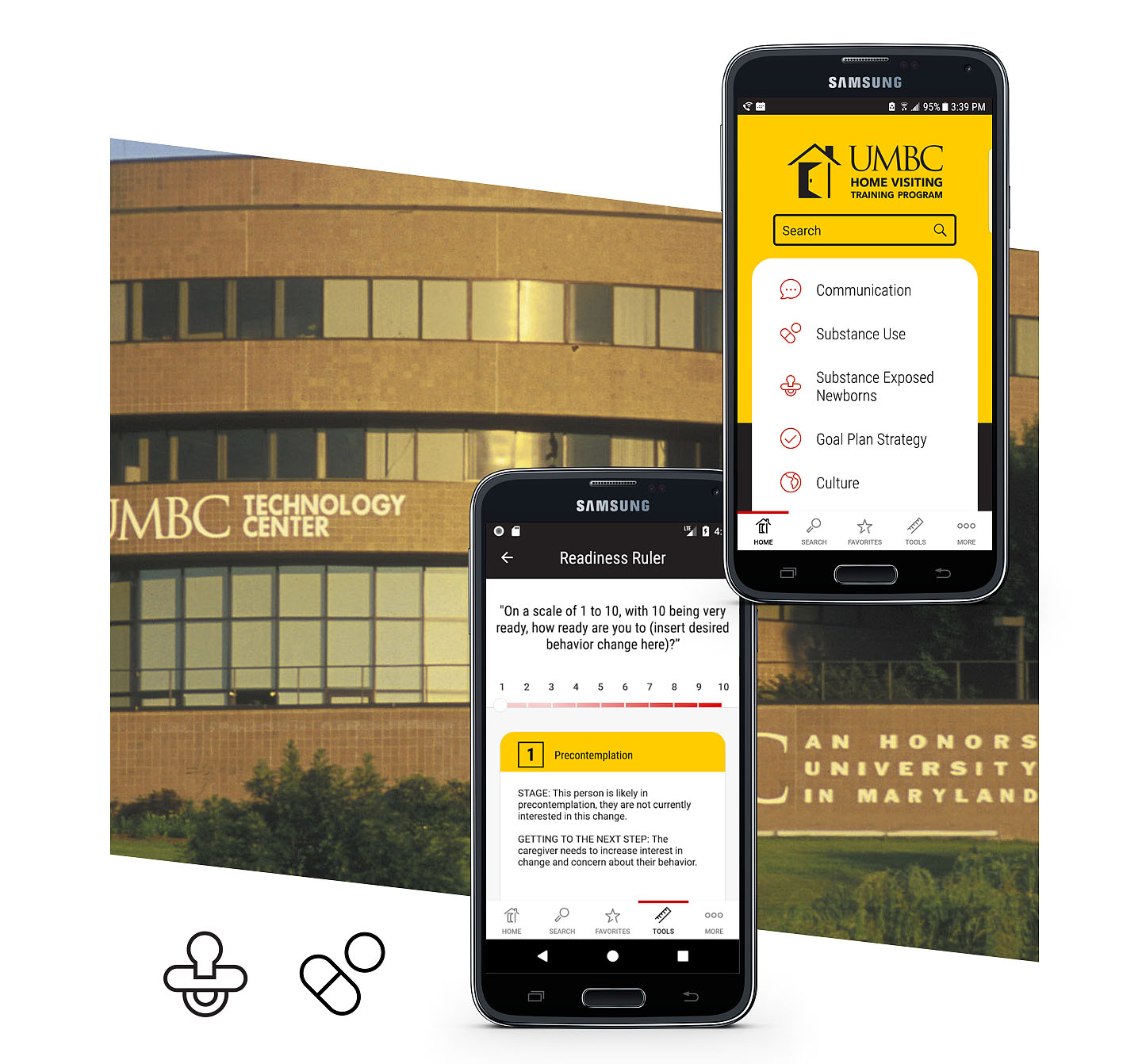 Two smartphones in the forefront displaying UMBC Home Visiting Training Program website with the UMBC building in the background.