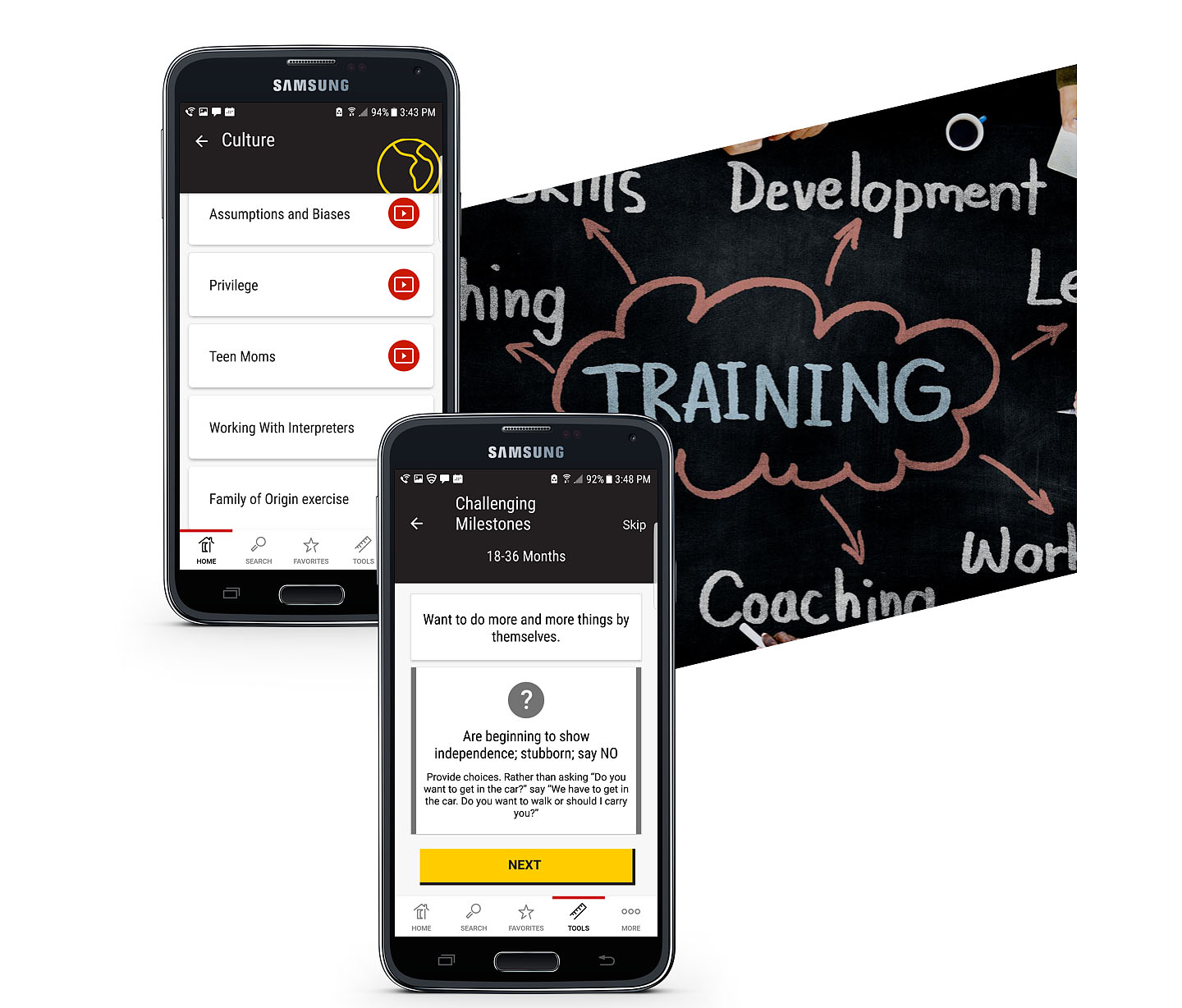 Two smartphones in the forefront displaying UMBC Home Visiting Training Program website with an idea board in the background.