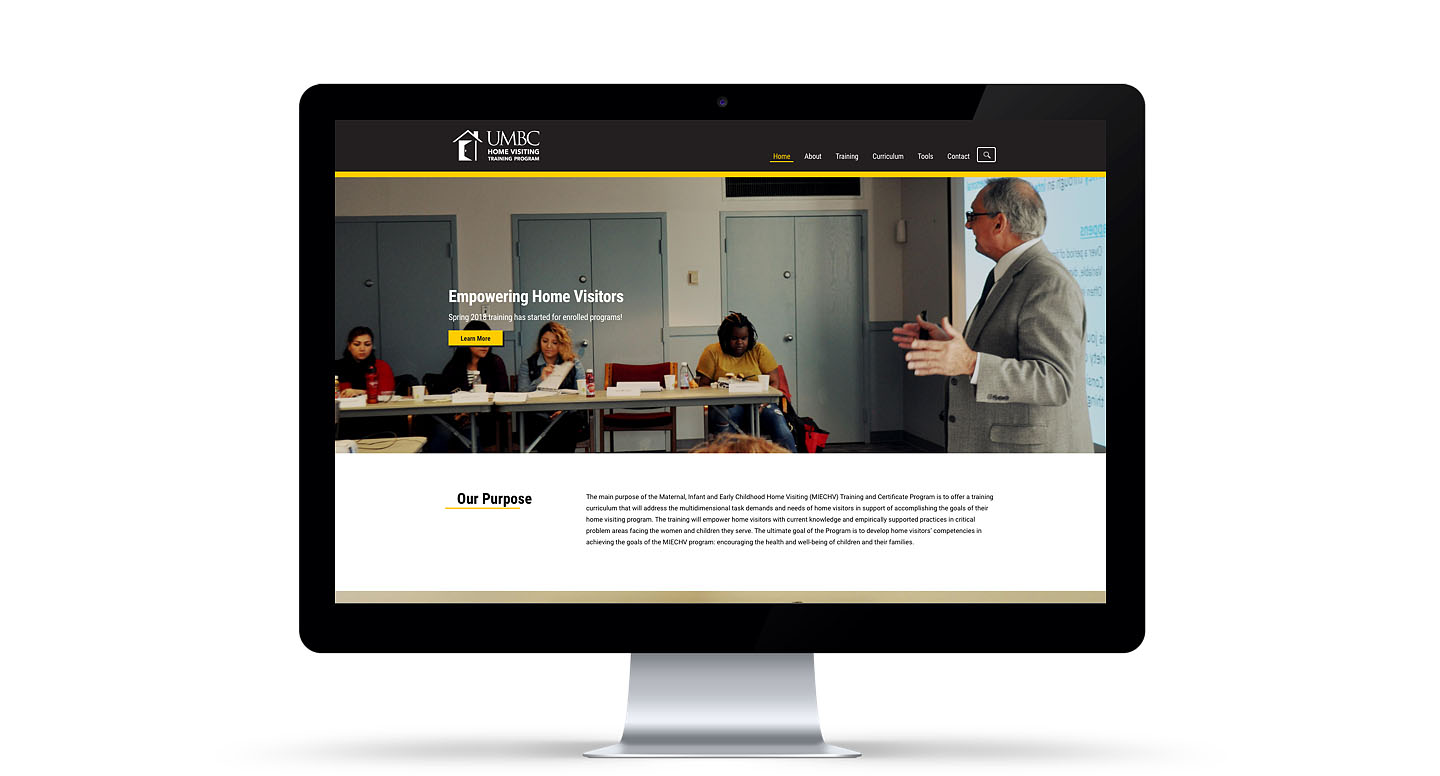 Desktop monitor showing one of the pages of the new UMBC Home Visiting Training Program website.