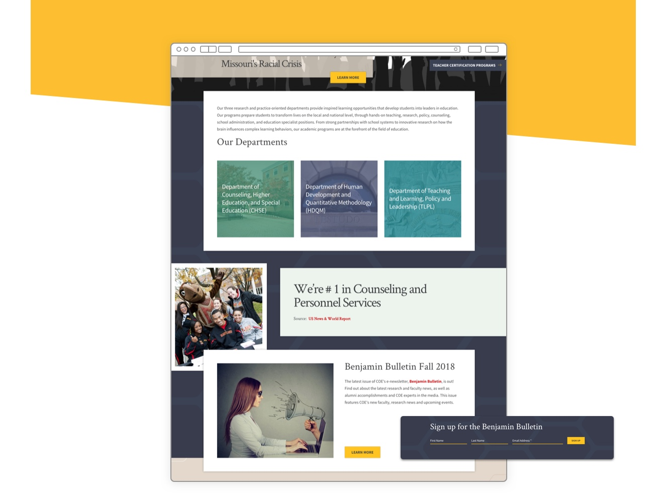 UMD College of education homepage featuring our departments and Benjamin bulletin sections.
