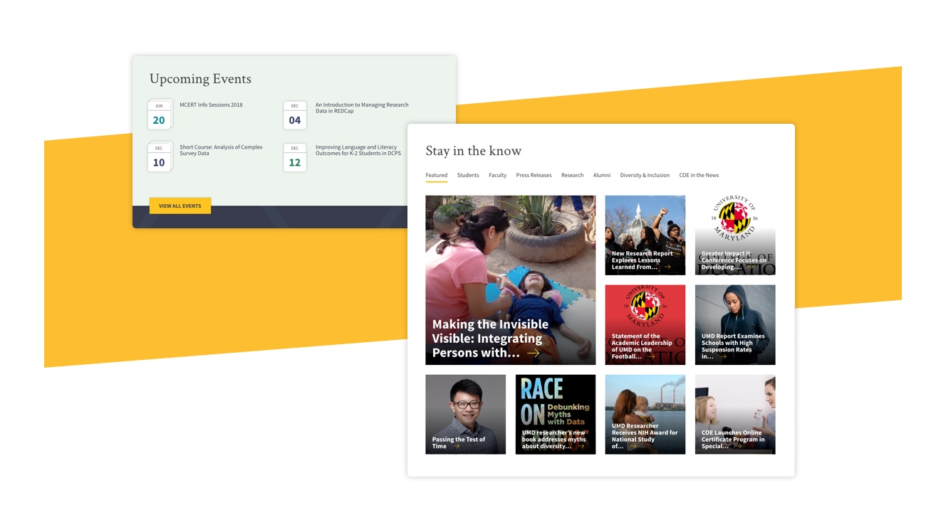 Upcoming events and Stay in the know featured sections of the home page.