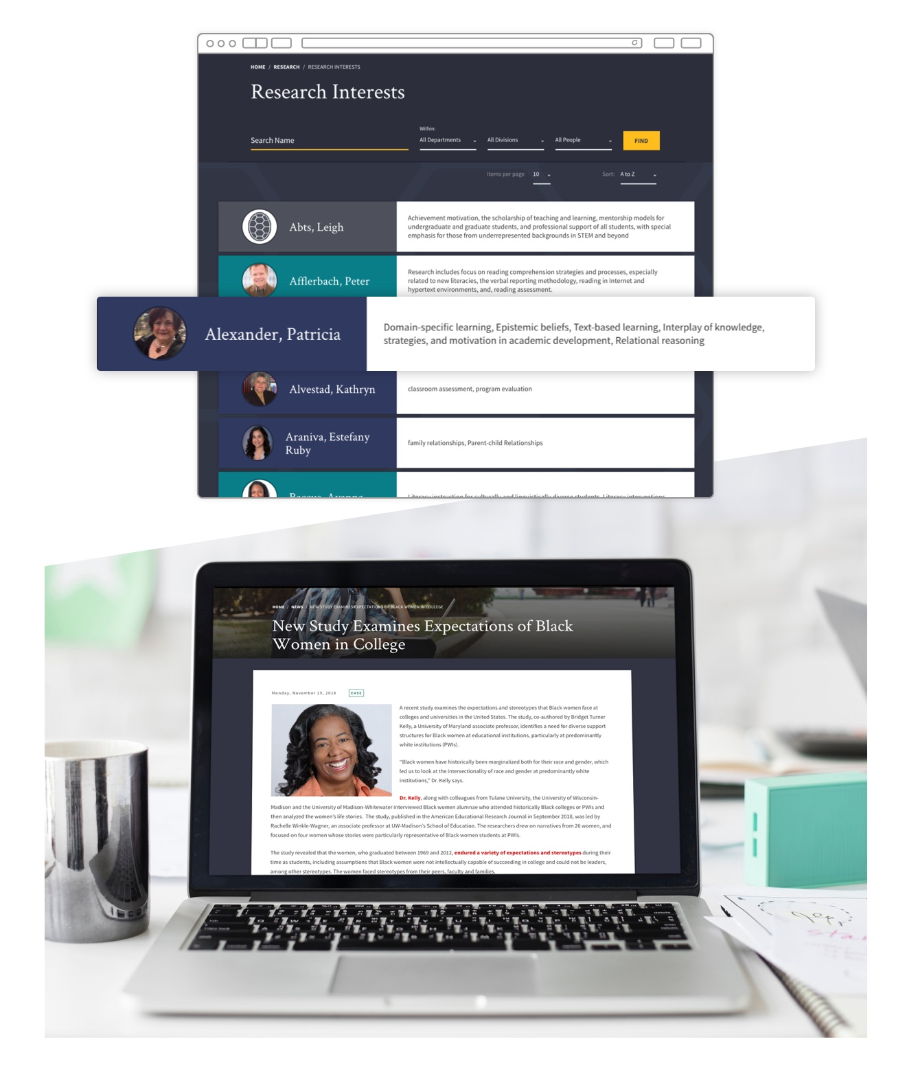 """Research interests page. Article feature titled """"New Study Expectations of Black Women in College"""" displayed on a laptop."""