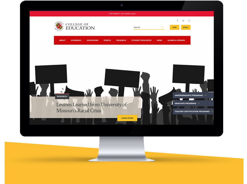 UMD College of education home page.