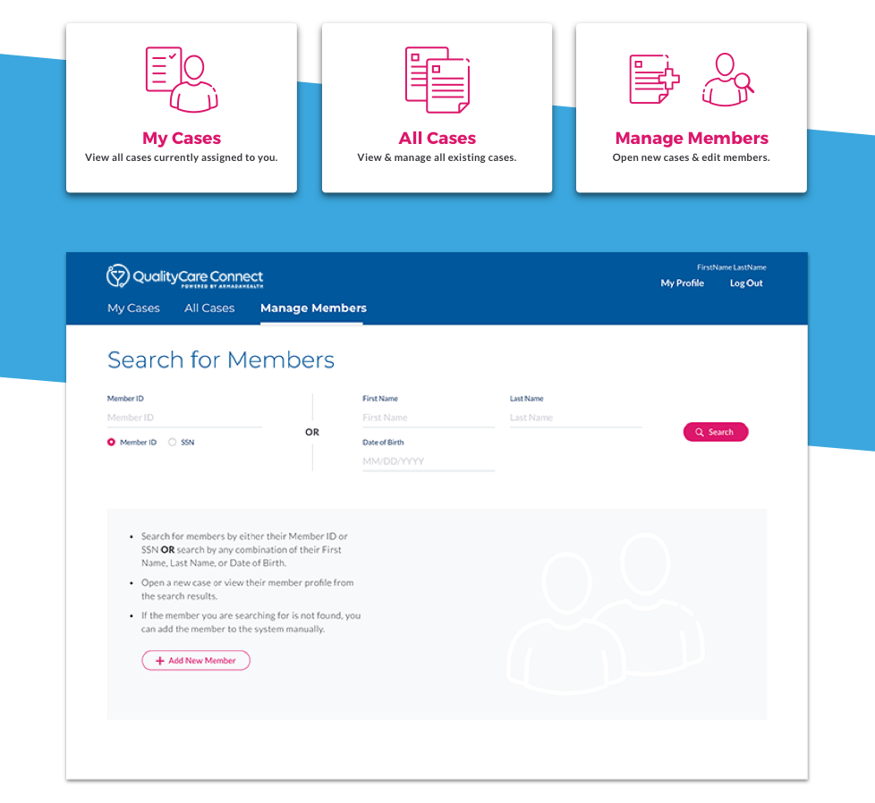 """Icons for """"my cases,"""" """"all cases,"""" and """"manage members,"""" and the """"search for members"""" webpage"""