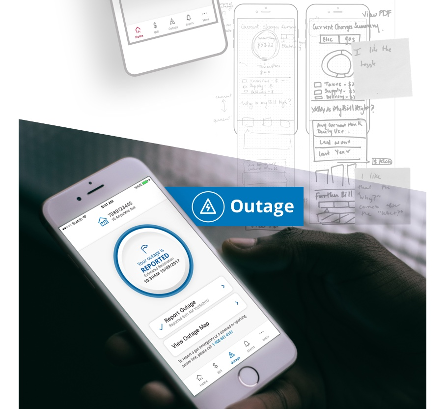 Exelon app being used to report a power outage.