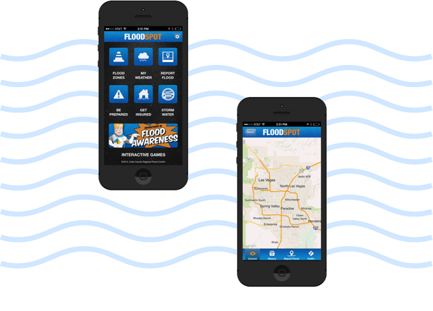 Two smartphones, off-set, displaying different sections of the Floodspot mobile app