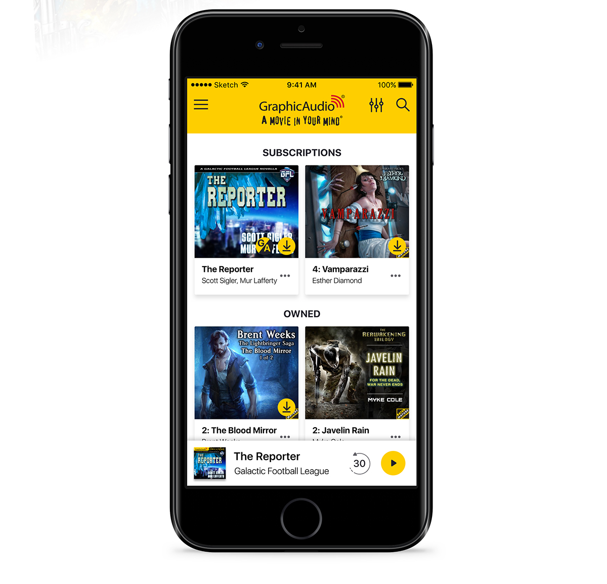 A smartphone displaying GraphicAudio's mobile app.