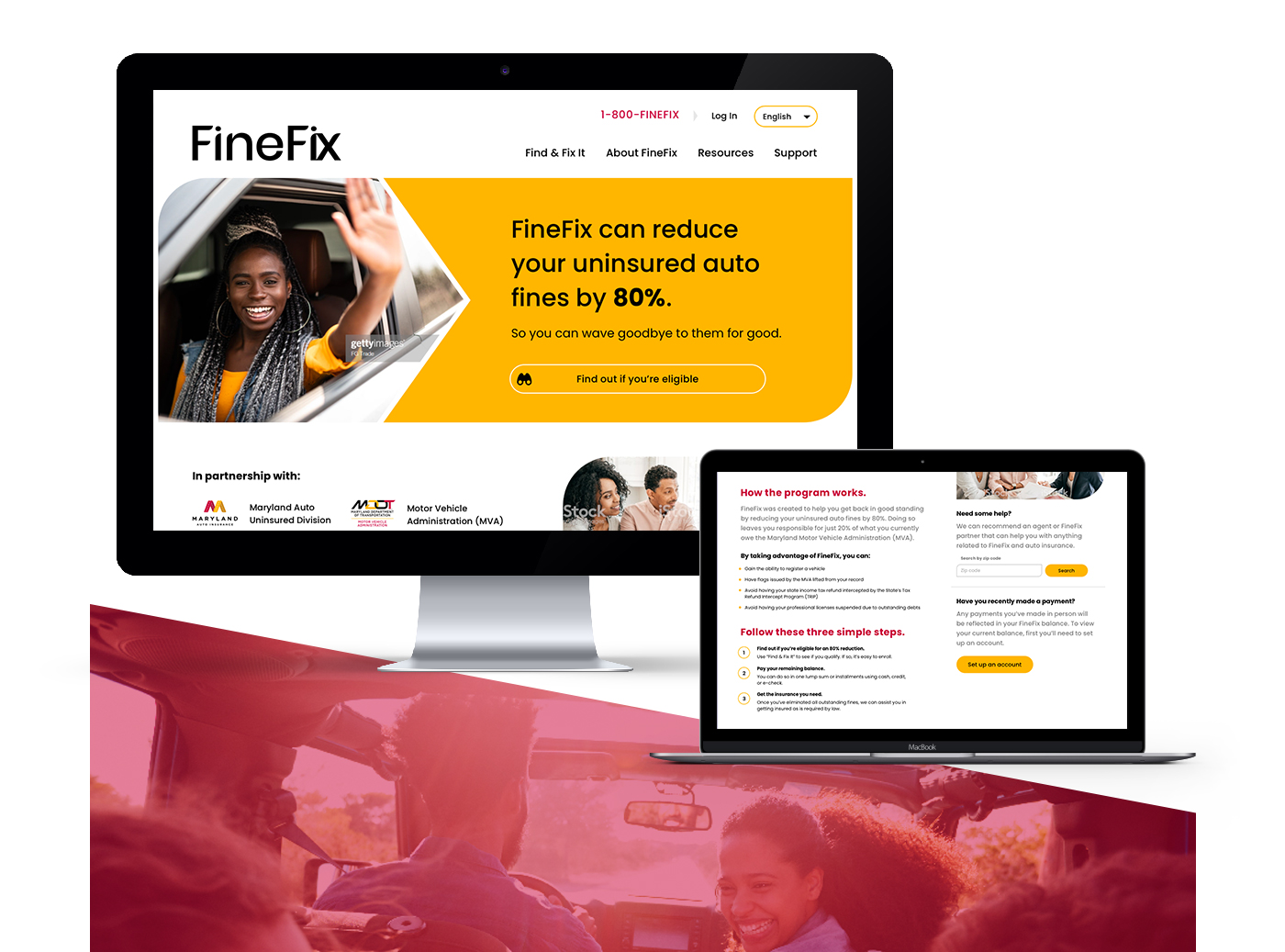 A computer monitor and a laptop screen showing different web pages for the FineFix program