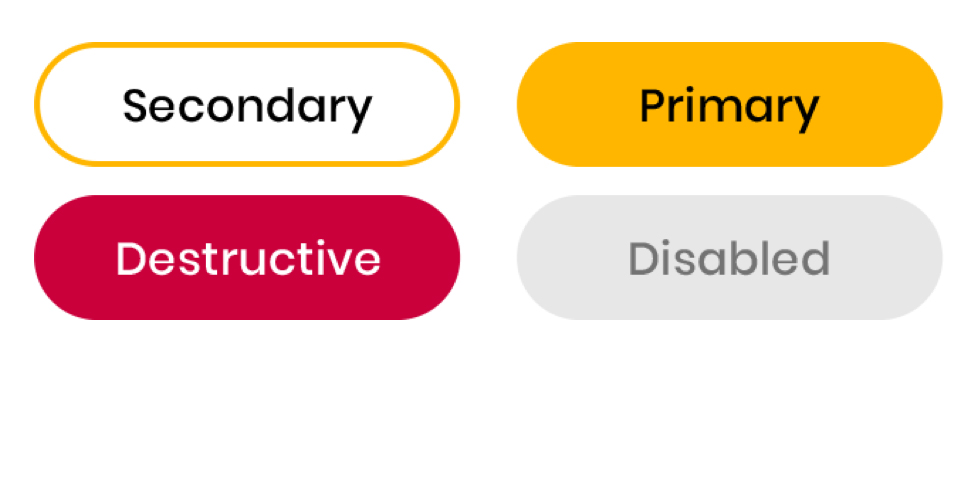 Status icons: Secondary, Primary, Destructive, and Disabled