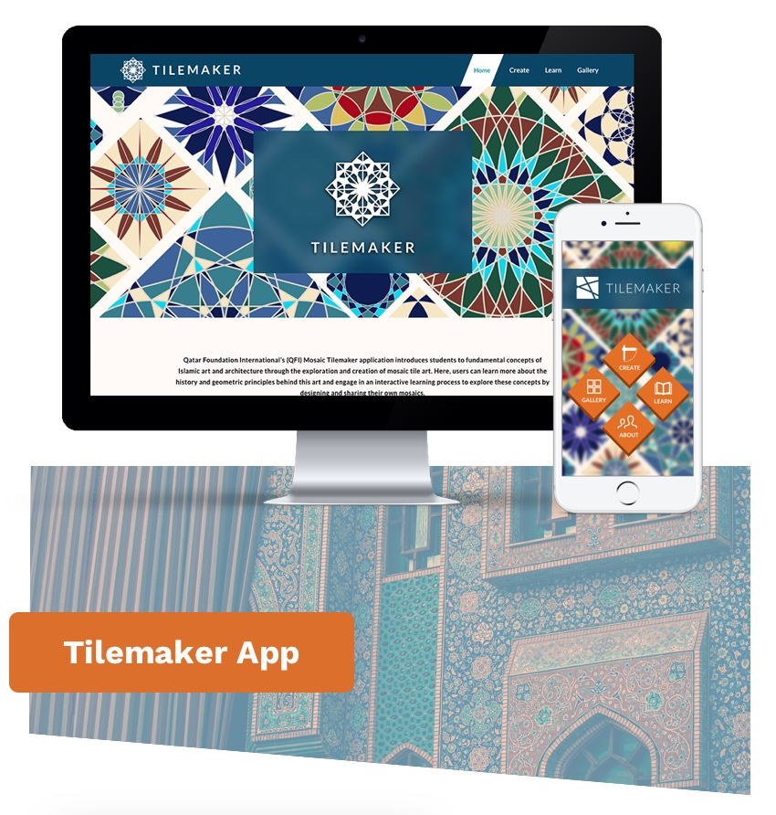 Desktop monitor and a smartphone display the home page of the Tilemaker app