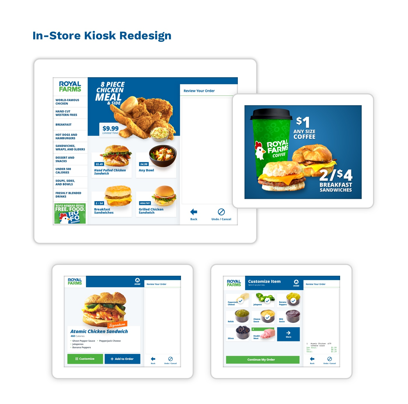 The new Royal Farms kiosk screens
