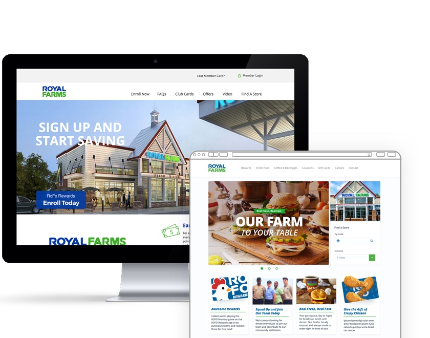 Royal Farms rewards website on a monitor and webpage