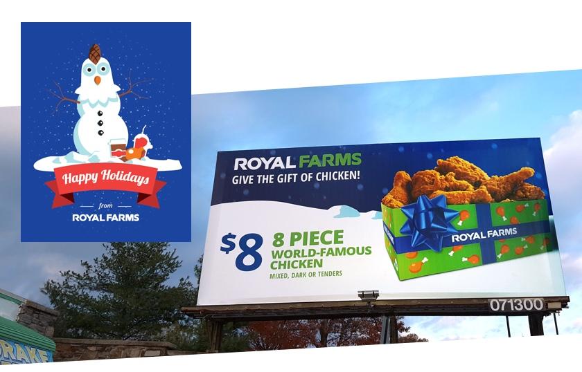 Royal Farms promotion on a billboard in the winter