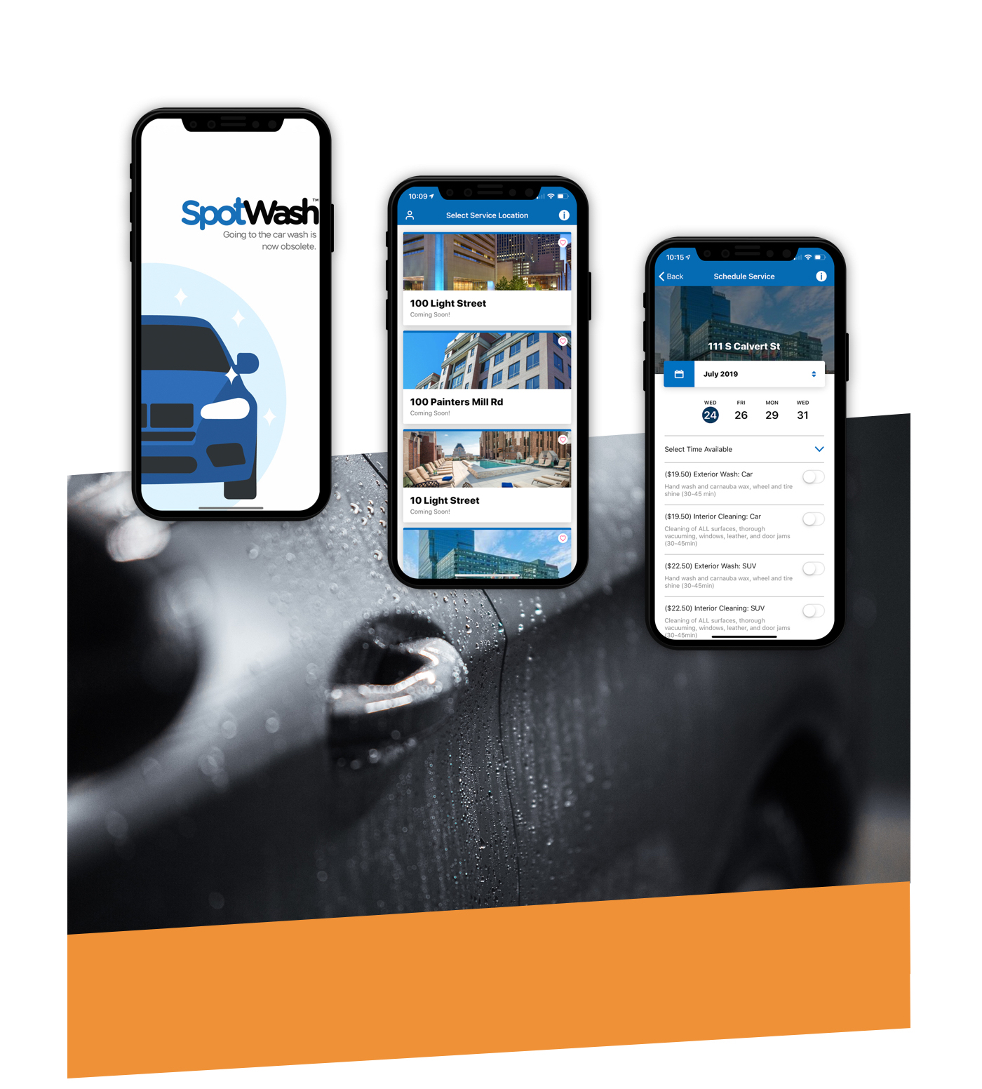 Three mobile devices displaying different screens of the SpotWash app