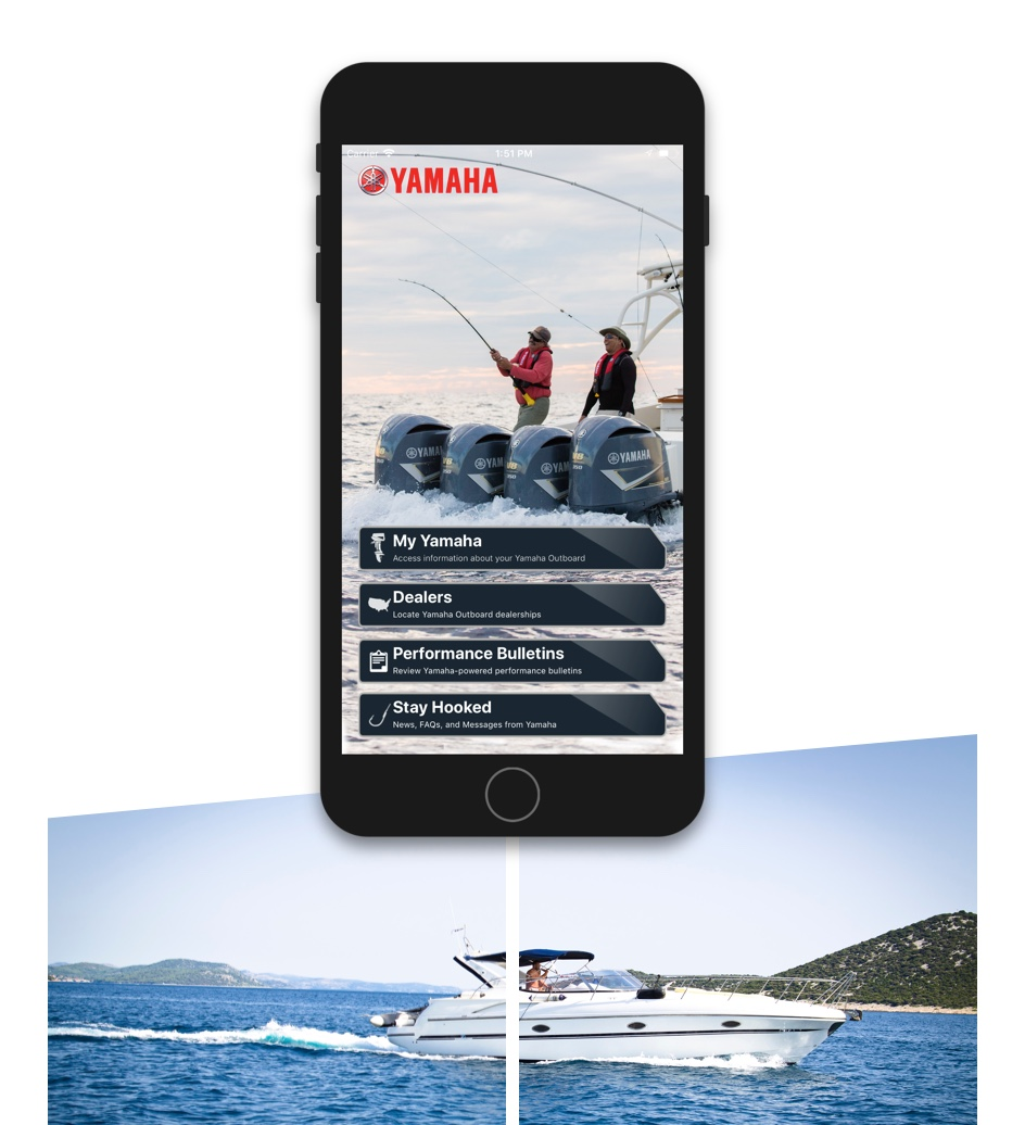 The Yamaha app homepage. A boacat driving across water.