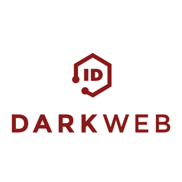 """Dark Web ID logo with """"ID"""" at the top with a dark red hexagon around it and """"Dark Web"""" below it also in dark red."""