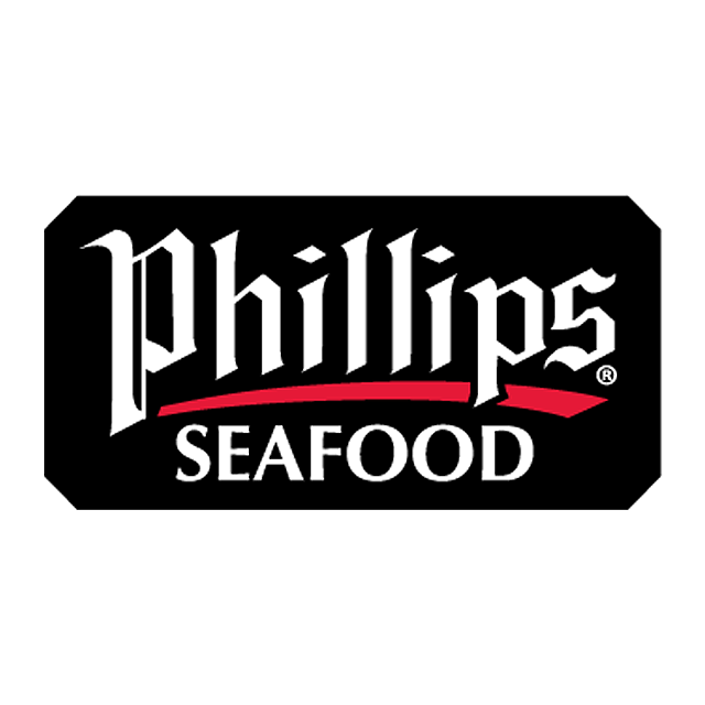 """A black rectangle with """"Phillips and Seafood"""" in white with a red line under """"Phillips"""""""