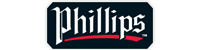 """A black rectangle with """"Phillips"""" in white with a red line under it."""