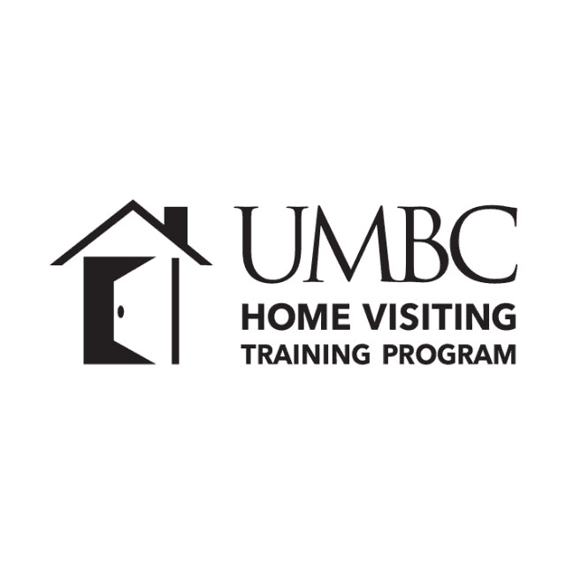 """A simple sketch of a home with an open door and the words """"UMBC Home Visiting Training Program"""" to the right of it."""