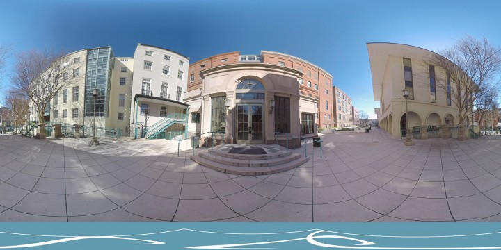 360 degree view photo of the buildings outside JHU Peabody Institute