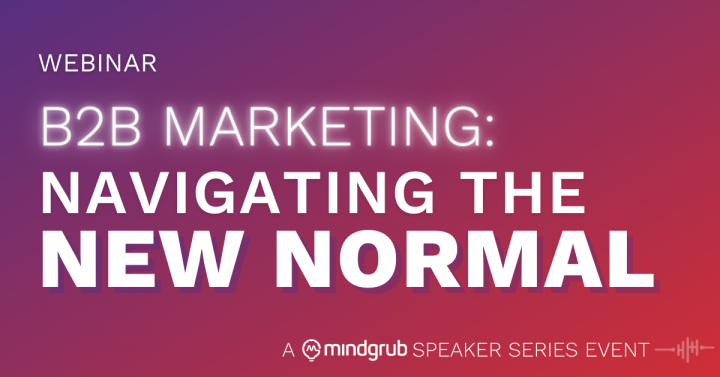 "Bold white text on a purple to red diagonal gradient. Text states the webinar's title and smaller in the right corner says ""A Mindgrub Speaker Series Event"""