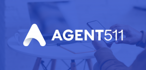 AGENT511 logo with a person using a mobile device in the background