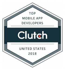 "Hexagon with the Clutch logo in the center and the words ""Top Mobile App Developers"" above it and the words ""United States 2018"" below it."
