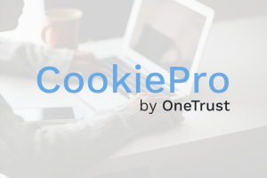 CookiePro logo with a person using a laptop in the background