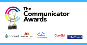 The Communicator Awards logo and two trophies, one silver one gold. Logos for Thread, MD Auto, cloudtamer.io, ComEd, and Venture Trailers
