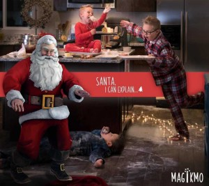 "Three children making a mess in a kitchen with Santa Claus with a text banner that reads ""Santa, I can explain...."""