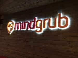 Mindgrub logo on office wall
